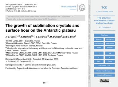 The Growth of Sublimation Crystals and S... by Gallet, J.-c.