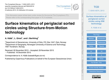 Surface Kinematics of Periglacial Sorted... by Kääb, A.