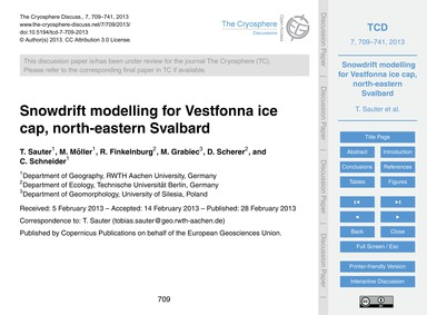 Snowdrift Modelling for Vestfonna Ice Ca... by Sauter, T.