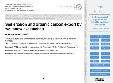 Soil Erosion and Organic Carbon Export b... by Korup, O.