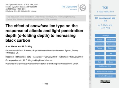 The Effect of Snow/Sea Ice Type on the R... by Marks, A. A.
