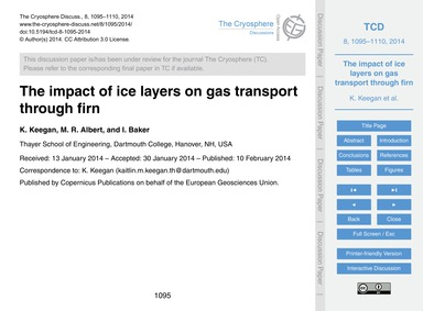 The Impact of Ice Layers on Gas Transpor... by Keegan, K.
