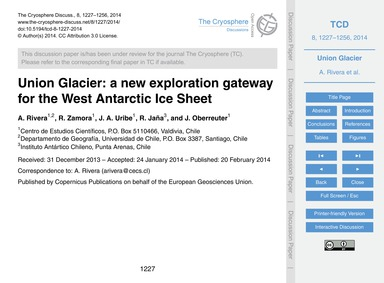 Union Glacier: a New Exploration Gateway... by Rivera, A.