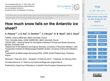 How Much Snow Falls on the Antarctic Ice... by Palerme, C.