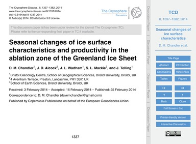 Seasonal Changes of Ice Surface Characte... by Chandler, D. M.