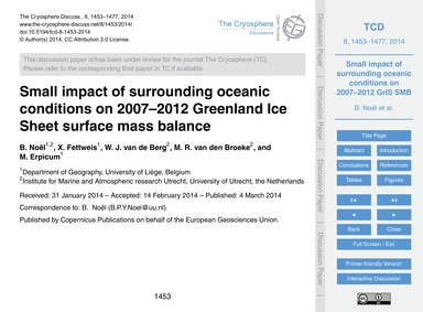 Small Impact of Surrounding Oceanic Cond... by Noël, B.