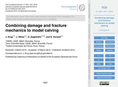 Combining Damage and Fracture Mechanics ... by Krug, J.