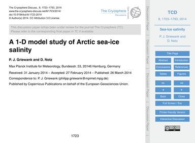 A 1-d Model Study of Arctic Sea-ice Sali... by Griewank, P. J.