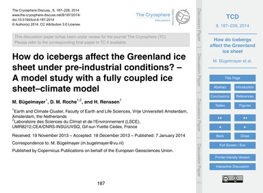 How Do Icebergs Affect the Greenland Ice... by Bügelmayer, M.