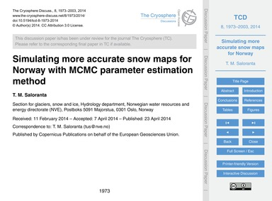 Simulating More Accurate Snow Maps for N... by Saloranta, T. M.