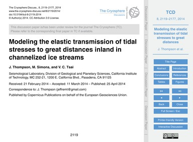 Modeling the Elastic Transmission of Tid... by Thompson, J.