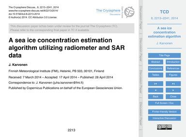 A Sea Ice Concentration Estimation Algor... by Karvonen, J.