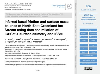 Inferred Basal Friction and Surface Mass... by Larour, E.