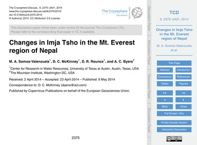 Changes in Imja Tsho in the Mt. Everest ... by Somos-valenzuela, M. A.