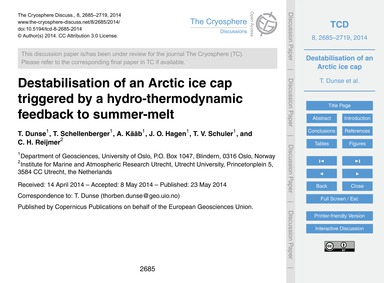Destabilisation of an Arctic Ice Cap Tri... by Dunse, T.