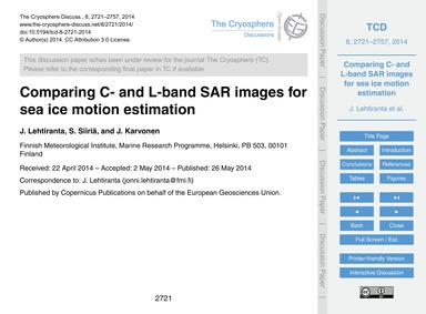Comparing C- and L-band Sar Images for S... by Lehtiranta, J.