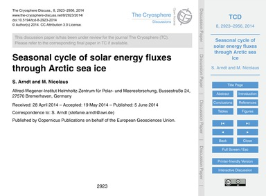 Seasonal Cycle of Solar Energy Fluxes Th... by Arndt, S.