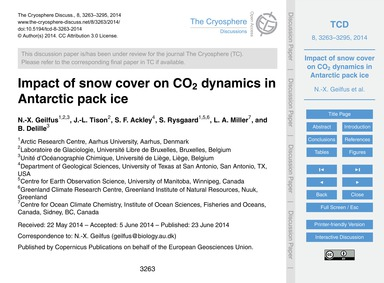 Impact of Snow Cover on Co2 Dynamics in ... by Geilfus, N.-x.