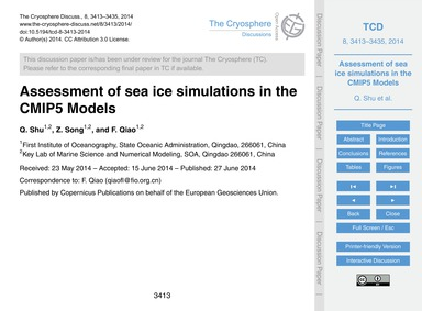 Assessment of Sea Ice Simulations in the... by Shu, Q.