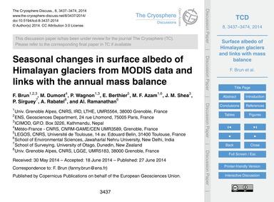 Seasonal Changes in Surface Albedo of Hi... by Brun, F.