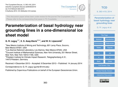 Parameterization of Basal Hydrology Near... by Leguy, G. R.