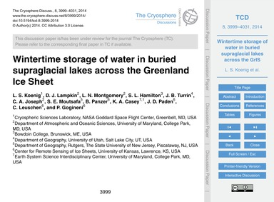 Wintertime Storage of Water in Buried Su... by Koenig, L. S.