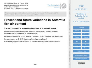 Present and Future Variations in Antarct... by Ligtenberg, S. R. M.