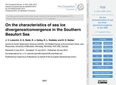 On the Characteristics of Sea Ice Diverg... by Lukovich, J. V.