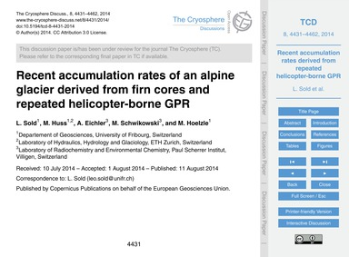 Recent Accumulation Rates of an Alpine G... by Sold, L.