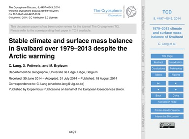 Stable Climate and Surface Mass Balance ... by Lang, C.