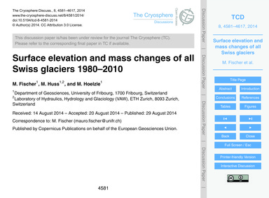 Surface Elevation and Mass Changes of Al... by Fischer, M.