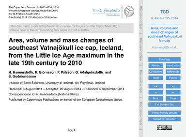 Area, Volume and Mass Changes of Southea... by Hannesdóttir, H.