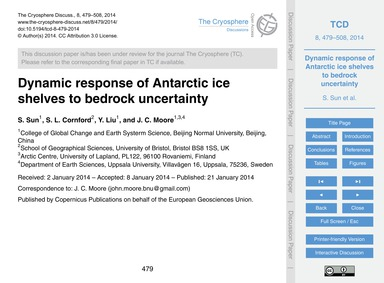 Dynamic Response of Antarctic Ice Shelve... by Sun, S.