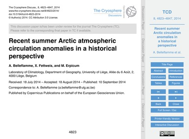 Recent Summer Arctic Atmospheric Circula... by Belleflamme, A.