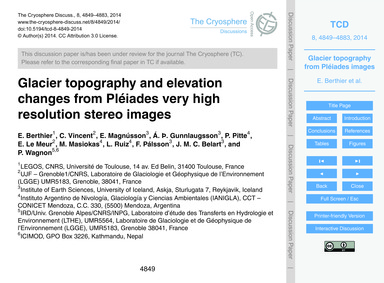 Glacier Topography and Elevation Changes... by Berthier, E.