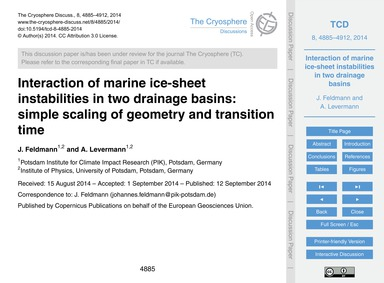 Interaction of Marine Ice-sheet Instabil... by Feldmann, J.