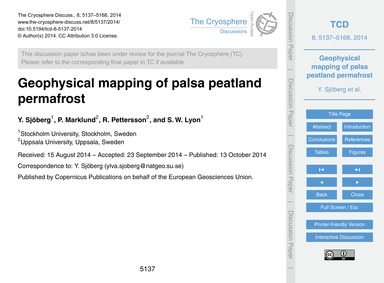 Geophysical Mapping of Palsa Peatland Pe... by Sjöberg, Y.