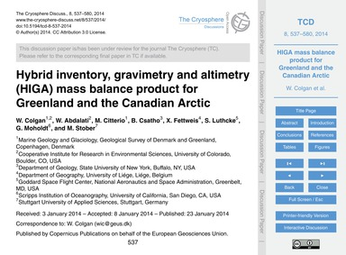 Hybrid Inventory, Gravimetry and Altimet... by Colgan, W.
