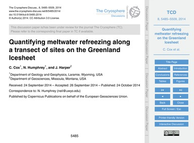 Quantifying Meltwater Refreezing Along a... by Cox, C.
