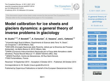 Model Calibration for Ice Sheets and Gla... by Giudici, M.