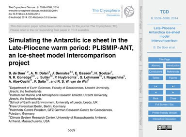 Simulating the Antarctic Ice Sheet in th... by De Boer, B.