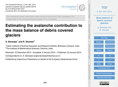 Estimating the Avalanche Contribution to... by Banerjee, A.