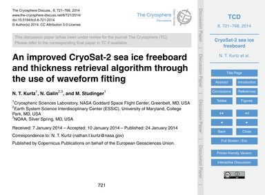 An Improved Cryosat-2 Sea Ice Freeboard ... by Kurtz, N. T.