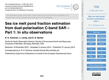 Sea Ice Melt Pond Fraction Estimation fr... by Scharien, R. K.