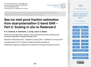 Sea Ice Melt Pond Fraction Estimation fr... by Scharien, R. K.