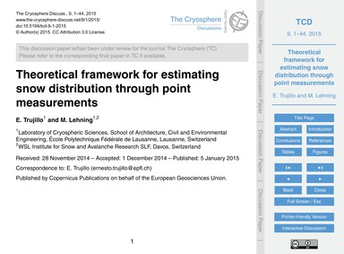 Theoretical Framework for Estimating Sno... by Trujillo, E.