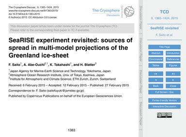 Searise Experiment Revisited: Sources of... by Saito, F.