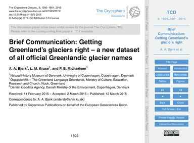 Brief Communication: Getting Greenland's... by A. Bjørk, A.