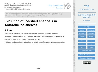 Evolution of Ice-shelf Channels in Antar... by Drews, R.