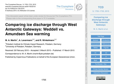 Comparing Ice Discharge Through West Ant... by Martin, M. A.